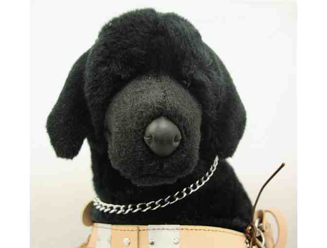 Spinner the Black Lab Plush in Harness