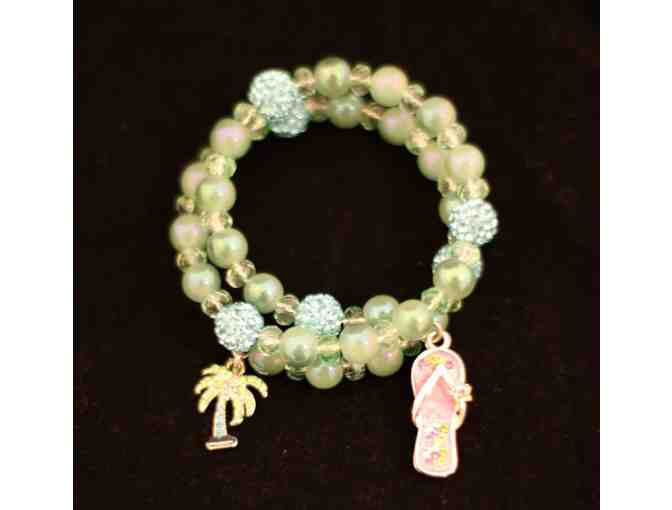 Beads Fur Rescue  Cancun Bracelet with flip flop and palm tree charms