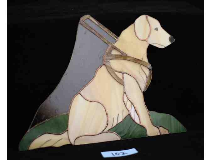 Stained glass Seeing Eye Golden Retriever in Harness
