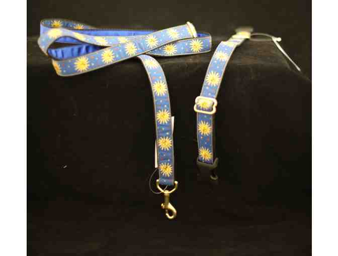 Blue and Gold Zodiac Sun Collar and Leash