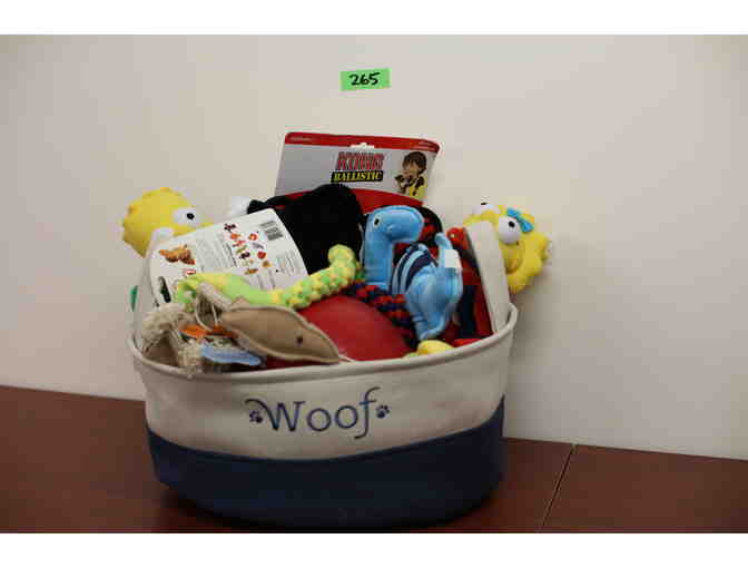 'Woof' Cream and Blue Canvas Basket of Dog Toys