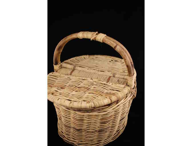 Double Sided Wicker Picnic Basket with wine glasses, blanket, toys, etc
