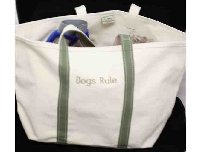 LL Bean Canvas Tote Embroidered with DOGS RULE and Filled with Dog Goodies