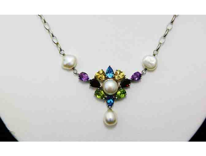 Sterling Silver Necklace with Pearls and Crystals