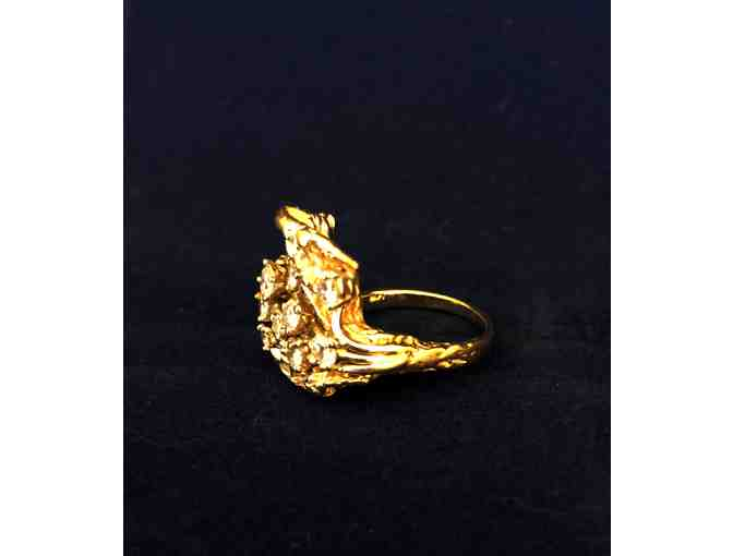 Antique Gold Leaf Ring with Diamond Flowers