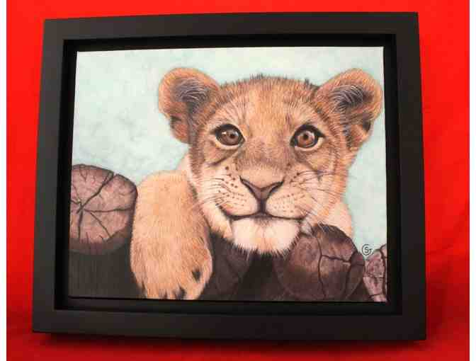 8.5 x 11.5 inch Framed Art 'Lion Cub - Jungle Baby'