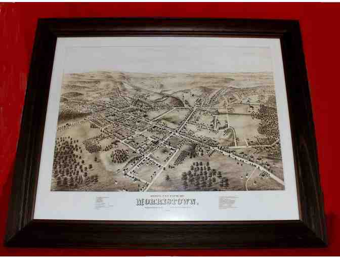 Framed 19.5' x 23.5' Sepia Print of Morristown, NJ Circa 1876