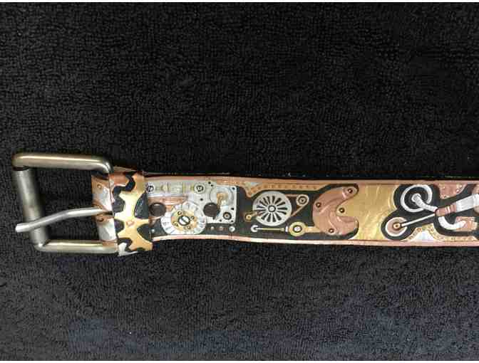 Embossed Leather Belt with Steampunk Design