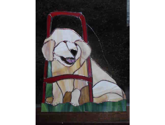 Stained glass Seeing Eye Golden puppy in Harness (2 of 2)