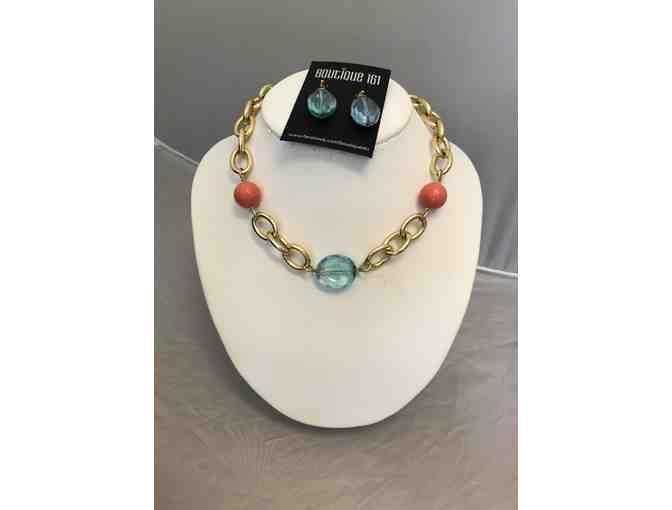 Deborah Grivas Designs - Chain and Crystal Necklace and Matching Crystal Earrings