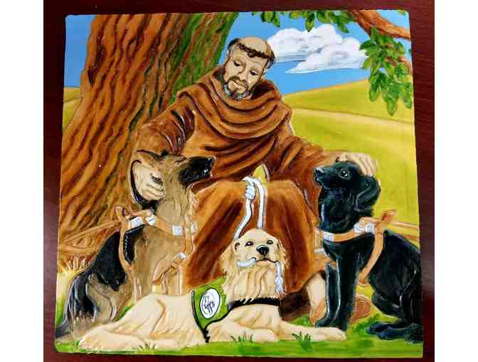 Hand Tooled Leather Wooden Box with St. Francis and Seeing Eye Dogs