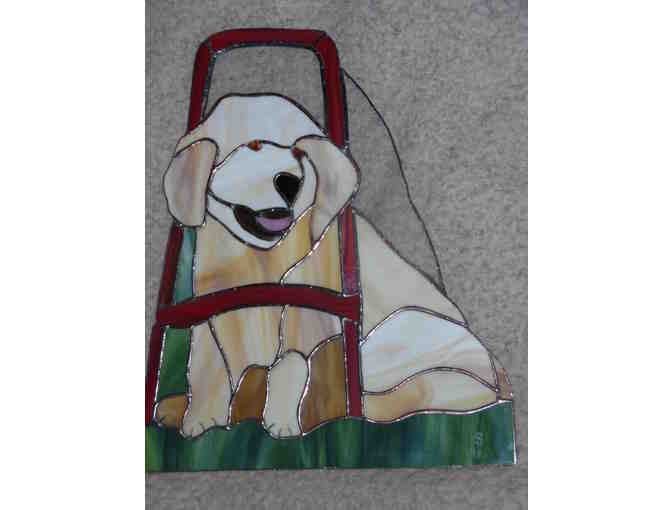 Stained glass Seeing Eye Golden Puppy with Harness (1 of 2)