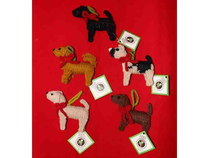 Set of 5 Hand-Knit Dog Breed Ornaments