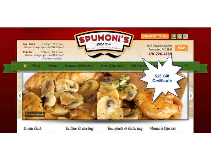 $25 Spumoni's Gift Certificate - Photo 1