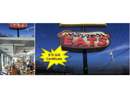 One $15 Gift Certificate to EATs Restaurant, located on Fall River Ave in Seekonk, MA