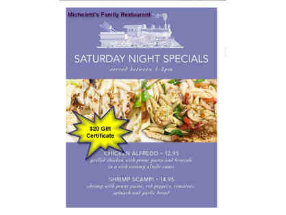 $20 Gift Certificate to Micheletti's Family Restaurant - located in Seekonk, MA