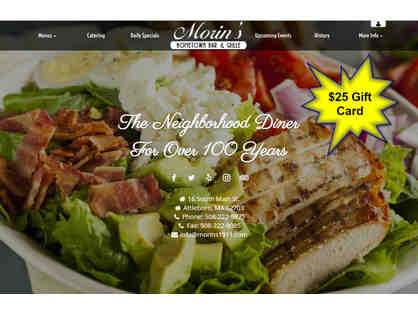 $25 Gift Card to Morin's Hometown Bar & Grille located in Attleboro, MA