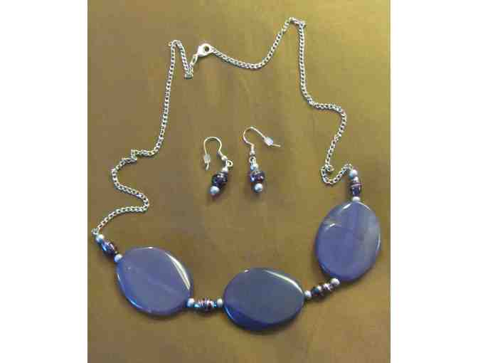 22' Handcrafted Purple Stone Trio with earrings