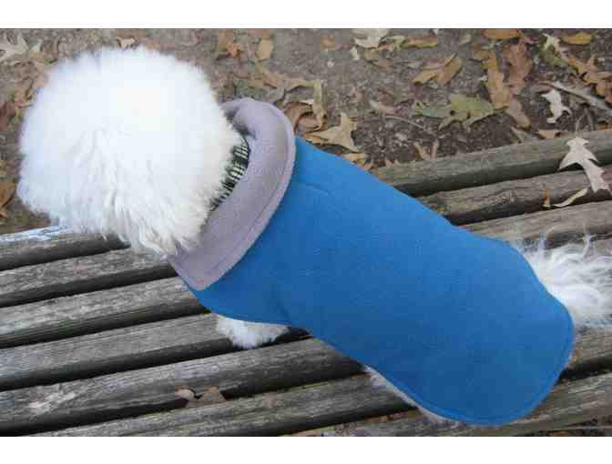 Aqua Blue Gray Reversible Dog Coat