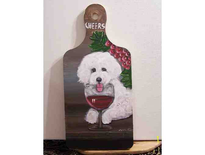 hand painted Bichon on wooden cutting board