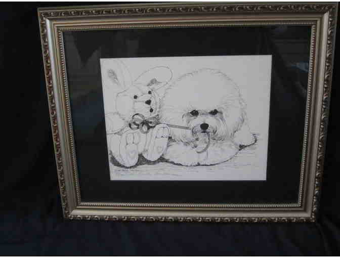 Bichon and Bunny Framed Art
