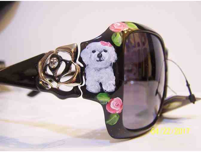 hand painted Bichon designer sunglasses