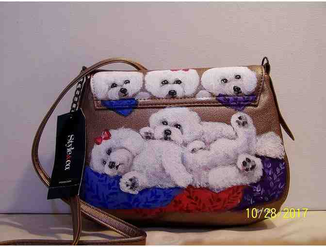 Hand painted small Bichon shoulderbag - New!!!