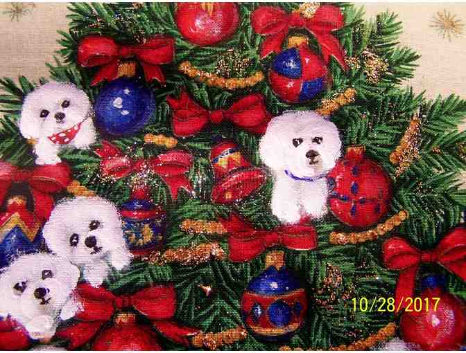 Hand painted Bichons Christmas Pillow
