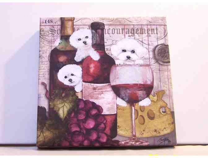 Hand painted Bichons and wine painting