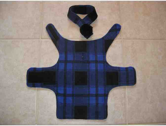 Dog Coat and Scarf - Blue/Black