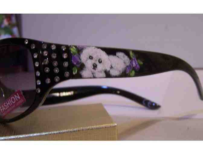 Bichon Frise painted bling sunglasses