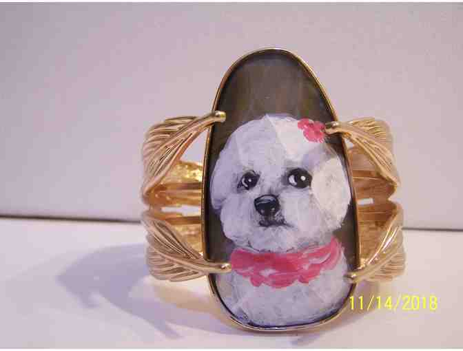 Hand painted Bichon Bracelet fits all