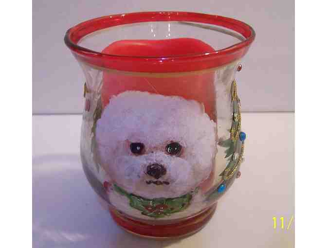 hand painted Bichon candle and holder