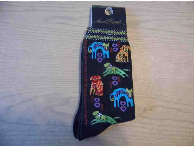 Laurel Burch Black Dog Portrait Socks