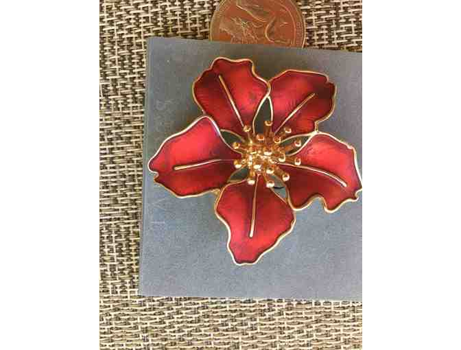 Talbots red holiday pin