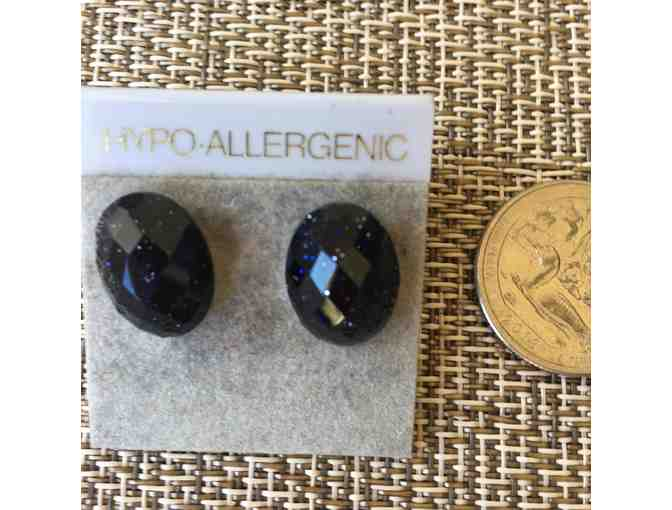 Blue Goldstone button earrings