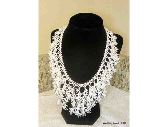 Opaque White Coral Beadwork Necklace