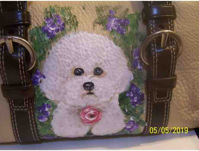 Hand painted Bichon on Coach travel bag