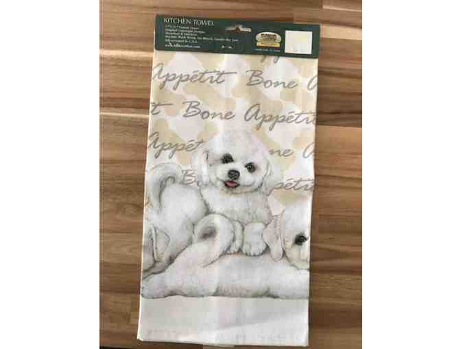 Bichon dish towel by Fiddlers Elbow