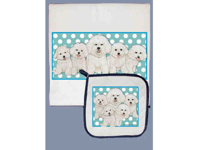 Bichon Kitchen Towel and Pot Holder
