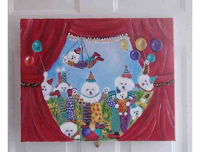 Original OOAK Bichon Clown Painting