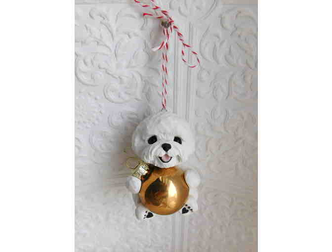 Hand sculptured hanging bichon frise