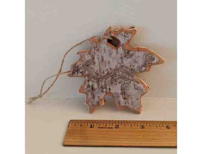 Birchbark maple leaf ornament
