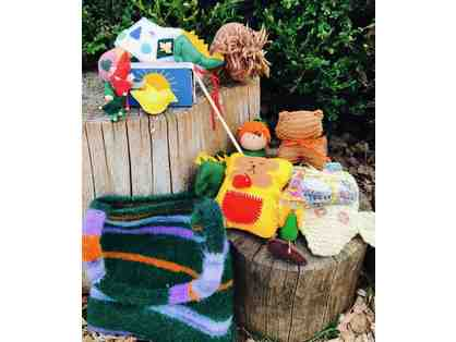 Beautiful Felted Bag with Custom Assortment of Handmade Toys