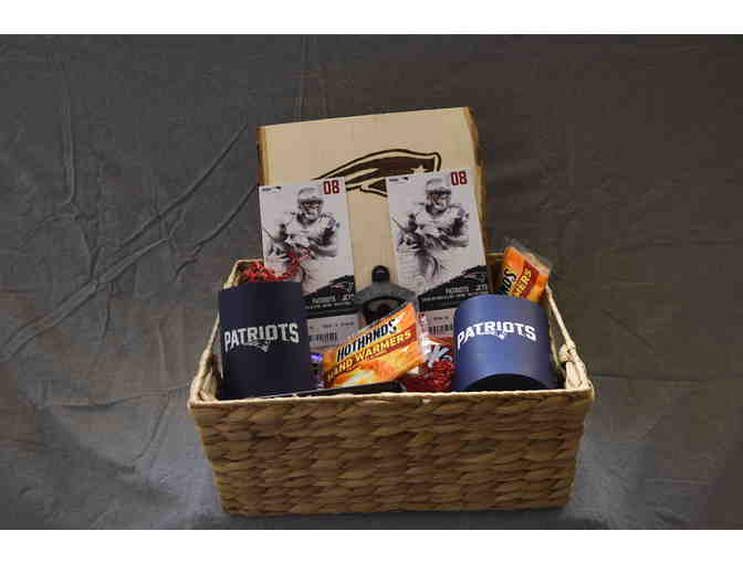 Patriots 2 Tickets Patriots on 12/30 & Wood-Burning Patriots Bottle Opener Basket