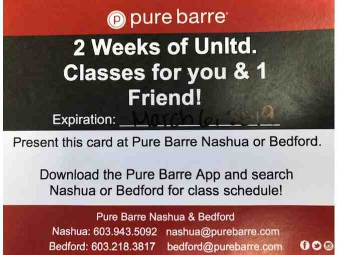 Pure Barre 2 Weeks Unlimited Classes You & 1 Friend Nashua or Bedford Basket