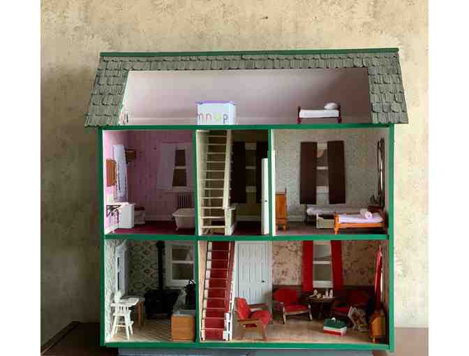 Handmade Colonial Dollhouse with Handmade Furniture
