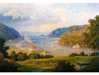 William G. Muller Lithographic Print 'Hudson River from West Point N.Y. in 1915