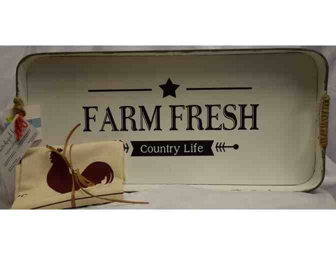 'Farm Fresh' Serving Tray & Kitchen Towel