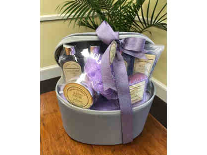 $75 gift card to Massage Envy and a Natural Aromatic Spa Basket